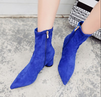 Women Winter Pointed Toe Suede Ankle Boots Chunky High Heel Fashion Shoes New