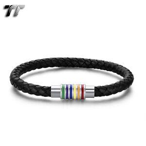 TT 6mm Black Leather 316L S.Steel Rainbow Magnet Buckle Bracelet (BR298) NEW