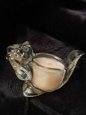 "Avon Vintage Glass Votive "" Bright Chipmunk� With Box And Unused Candle."