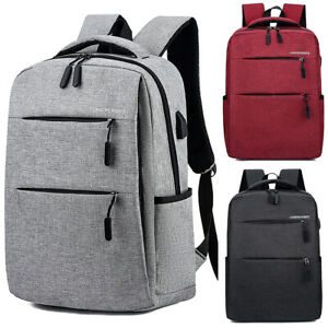Mens Large Laptop USB Charging Port Backpack Business School Travel Work Bags