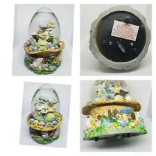 Spring Water Globe w/ Musical Playing Easter Parade Egg Shaped Glitter Snow