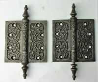 "Pair of Antique Steeple Tip Cast Iron Eastlake Victorian Door Hinges 4"" x 4"""