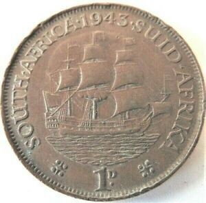 1943 SOUTH AFRICA, GEORGE VI,  Penny grading VERY FINE.