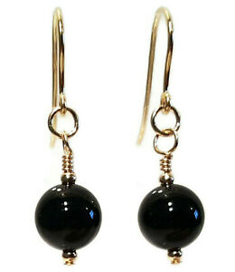 9ct Gold Earrings with Black Onyx, 8mm Gemstone Beads, Drop Earrings, Gift Boxed