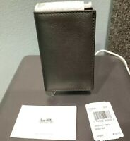 NWT Coach F23845 Men's Trifold Wallet Sport Calf Pebble Leather Black $150