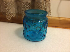 """Vintage L E Smith Coffee Canister Moon & Stars Blue 5 1/4"""" tall No Lid"""