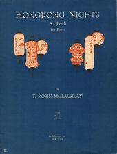 HONG KONG NIGHTS Music Sheet-1932-Piano Solo-MacLACHLAN-Paper Lanterns Artwork