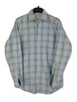 Peter Millar Mens Medium 100% Cotton Blue Plaid Button Up Shirt