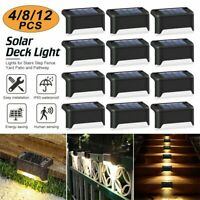 Outdoor 12Pc LED Solar Fence Wall Light Garden Yard Step Stair Path Decking Lamp