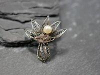 Wunderbare Modeschmuck Brosche Silber Filigran Jugendstil Art Deco Vintage Edel