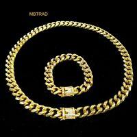 14mm Men Cuban Miami Link Bracelet & Chain Set 14k Gold Plated Stainless Steel
