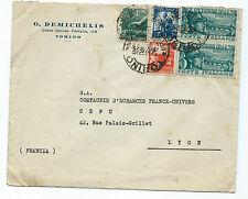 STORIA POSTALE 1948 REPUBBLICA 5 VALORI SU LETTERA TORINO 6/12 PER LYON D/8184