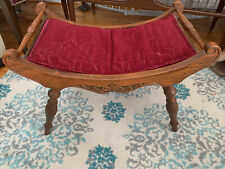 New listing Antique Curved Seat Oak Carved Foot Stool