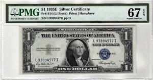 Fr.1614 $1 1935 E L-I Block Silver Certificate PMG Superb GEM 67 EPQ