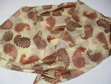 MADE IN INDIA BNIP EARTHY GOLDEN BROWN PAISLEY & CHECK PRINT PURE SILK XL SCARF