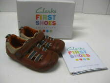 Baby boys CLARKS brown leather FIRST SHOES sandals cut out summer size UK 4.5 f