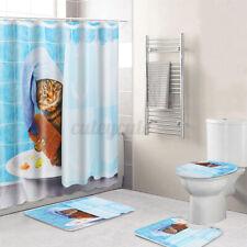 Us Cat Polyester Shower Curtain Bath Pedestal Toilet Lid Seat Pad Cover Mat set