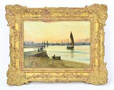 Vintage Oil Painting on Panel Dutch School Harbor Scene Signed
