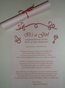 Its a Girl Gift New Born Baby Girl Poem Personalised Scroll Frame Keepsake