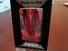 PINUP GIRL TOPLESS ONLY MARDI GRAS BEADS ON ZIPPO LIGHTER MINT IN BOX
