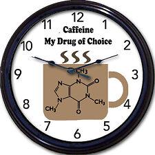 Caffeine Coffee Chemistry Wall Clock Drug Of Choice Mug Cup Java Joe Molecule