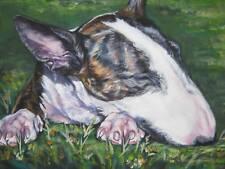 "Bull Terrier dog art portrait Canvas PRINT of LAShepard painting LSHEP 12x16"""