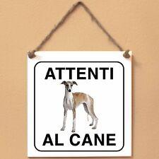 Targa piastrella cartello cane ceramic tile Attenti al cane Whippet 1