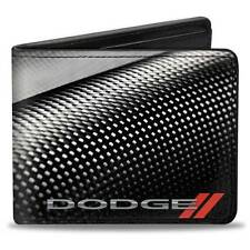 Men Wallet Bifold Black Dodge Red Rhombus Carbon Fiber Logo Trucker Genuine