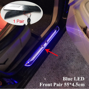 2x Blue LED Car Door Sill Scuff Cover Induction Moving Light Welcome Panel Lamps