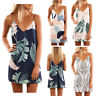 Women Fashion  Sexy Tropical Palm Print Short Boho Summer Beach Dress