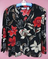 STK2800- CHICO'S TRAVELERS Women Slinky Travel Knit Blouse Multicolor Floral 1 M