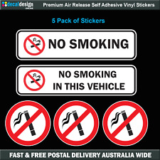 NO SMOKING warning stickers 5 Pack of quality UV resistant vinyl decals #N007