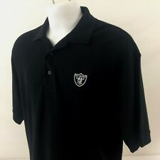 Oakland Raiders Mens Polo Golf Shirt Large Reebok Black NFL Football 100% Cotton