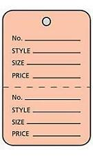 Case of 1000 Merchandise Product Price Tags Perforated Salmon Pink Small SZ