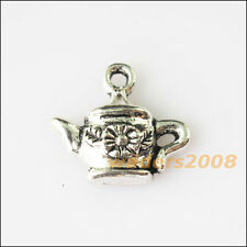 12 New Teapot Flower Leaf Tibetan Silver Tone Charms Pendants 14x16mm