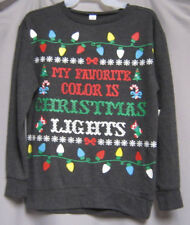 Juniors XS Christmas Pullover Top Shirt My Favorite Color is Christmas Lights