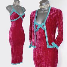 KAREN MILLEN Pink Silky Velvet Cocktail Pencil Stretch Dress & Cardigan UK12 40