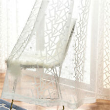 Nordic Style Geometric Sheer Curtain White Voile Curtain for Living Room 1 Piece