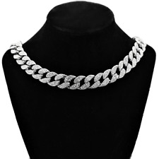 """Mens Choker Hip Hop Chain 18""""  x 15MM Silver Tone Iced Out Cuban Bling Necklace"""