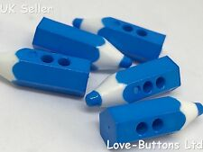 5 CUTE BLUE PENCIL CRAYON SHAPED BUTTONS SEWING KNITTING SCRAPBOOKS SCHOOL