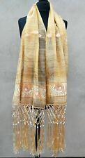 XL Bohemian Gold Embroidery & Tassels Lightweight Shawl Wrap Pashmina Scarf