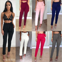 Fashion Womens High Waist Paperbag Trousers Ladies Party Cigaratte Cute Pants
