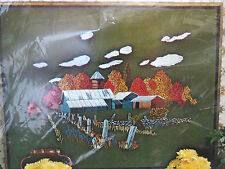 "Paragon crewel embroidery KIT Harvest Sheds barns vtg 19"" x 25"" farm farming"