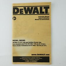 DeWalt DCS391, DCS393  Circular Saw  Instruction Manual