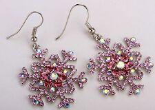 Pink Snowflake Drop Dangle Earrings Crystal Rhinestone Christmas Jewelry ED16