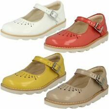Infant Junior Girls Clarks Buckle Mary Jane Patent Leather Shoes Crown Jump
