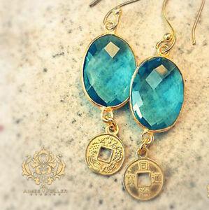 24K Gold Blue Topaz Bezel Facet Gem Jewelry Inscribed Coin Disk Earrings Jewelry