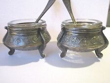 VICTORIAN SILVERPLATE MATCHING PAIR OPEN SALTS/MUSTARD WITH DISH AND SPOONS