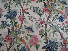 "GP & J BAKER CURTAIN FABRIC DESIGN ""Hydrangea Bird"" 5 METRES  ROSE & BISCUIT"