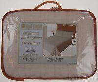 Regal Comfort Beige Pillow Shams Pair Lot 2 Luxurious Sherpa Queen Standard Bed